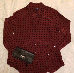 Super cool silk maroon and black dress shirt